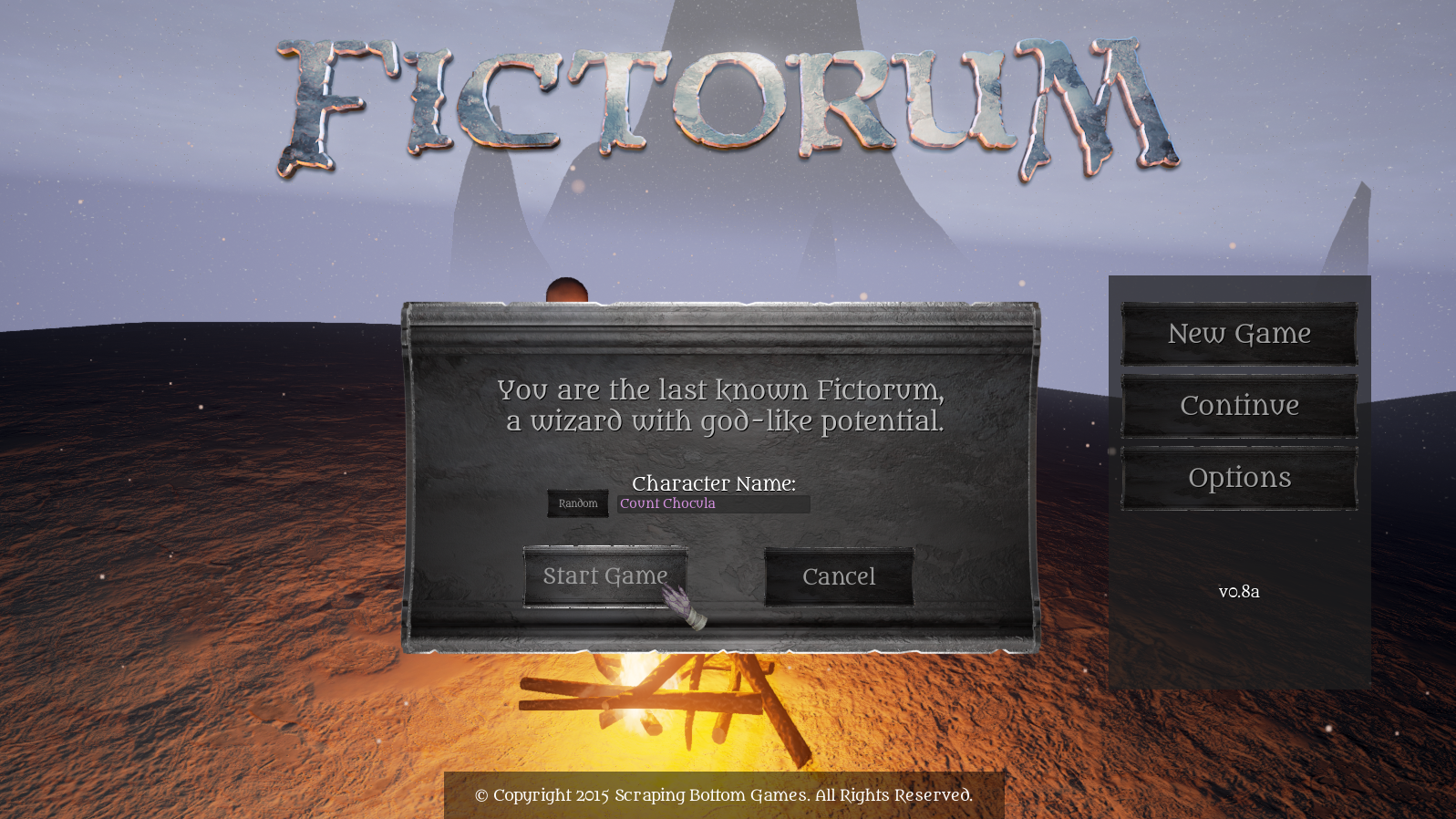 Fictorum In-Game History Character Creation